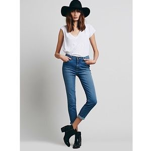 Free People High Rise Roller Skinny Jeans